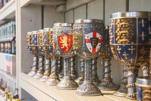 Goblets on a shelf
