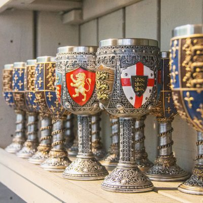 Goblets on a shelf